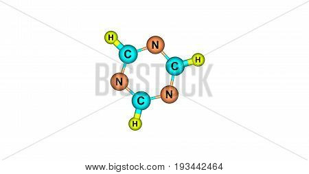 A triazine is class of nitrogen-containing heterocycles. The parent molecules' molecular formula is C3H3N3. 3d illustration