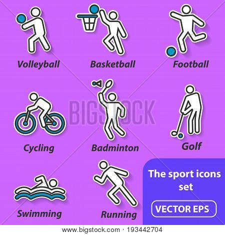 Summer sports, icons. This is a set of vector flat icons for sites.
