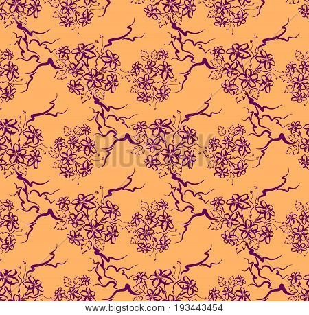 Seamless pattern in the form of branches. Interweaving of branches.
