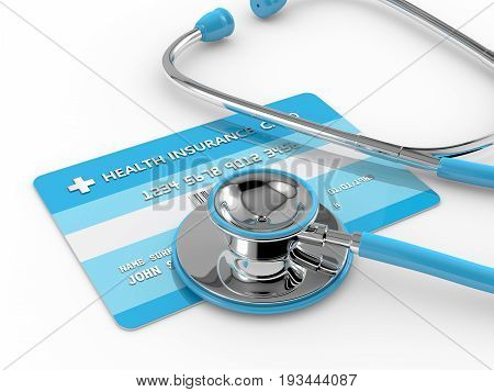 3D Render Of Health Insurance Card With Stethoscope
