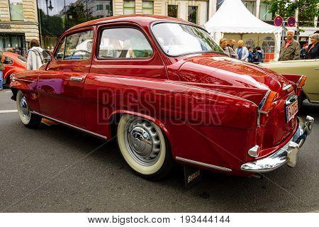 BERLIN - JUNE 17 2017: Small family car Skoda S440 1958. Rear view. Classic Days Berlin 2017.