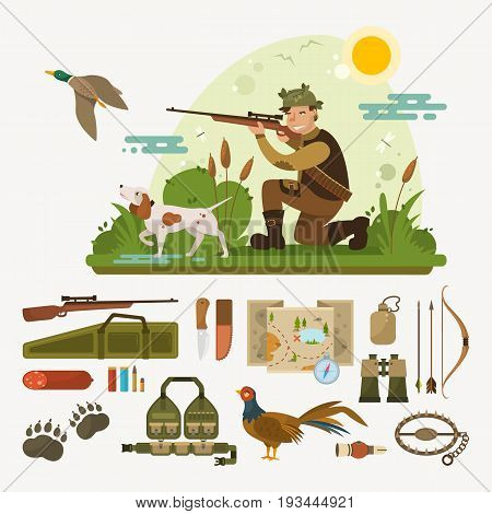 Hunting icons set vector illustration. Map, compass, trap, bow, binoculars, ammunition, pheasant etc. Flat landscape. Scene in forest: camouflaged hunter with dog finds duck and shoots it with shotgun