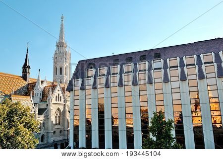 Budapest Hungary Europe - St.Matthias church and a modern building