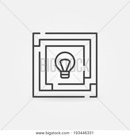 Maze with bulb icon - labyrinth outline symbol. Find solution concept sign in thin line style