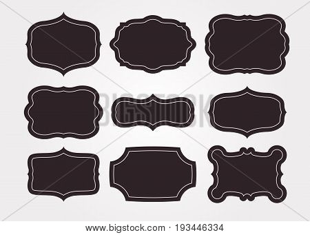 Vintage black frame empty set. Retro premium quality labels set and antique frames design elements. Vector illustration