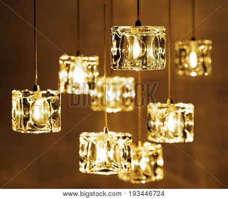 Closeup view of contemporary light fixture background