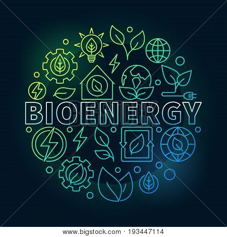Bioenergy round colorful illustration - vector biomass concept sign. Thin line eco energy circular symbol on dark background