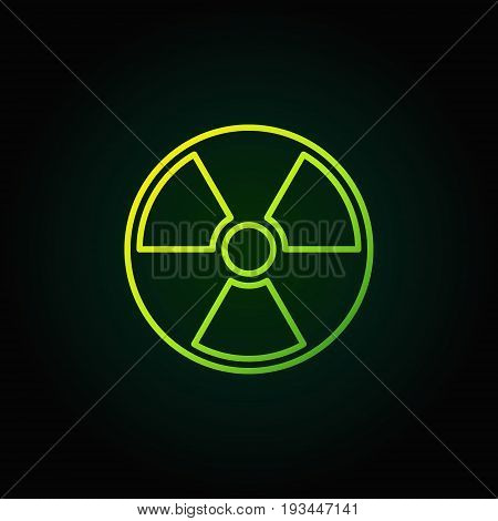 Radiation outline green icon - vector nuclear power sign or logo element on dark background