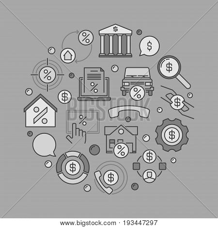 Leasing round creative illustration - vector money and finance business sign on gray background