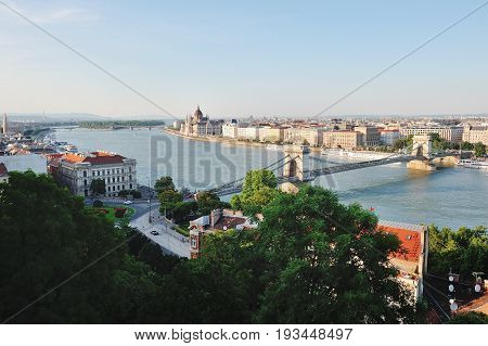 Budapest Hungary Europe - Chain bridge river Danube and city panoramic day view