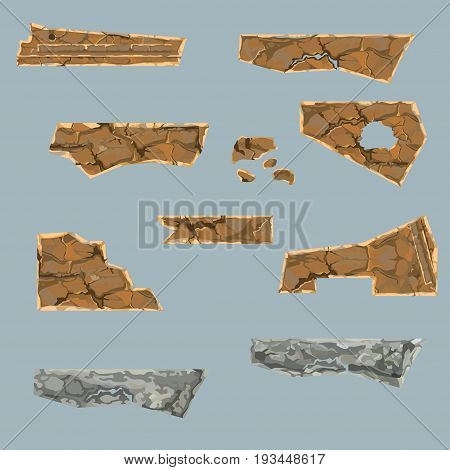 painted set of various dilapidated stone parts