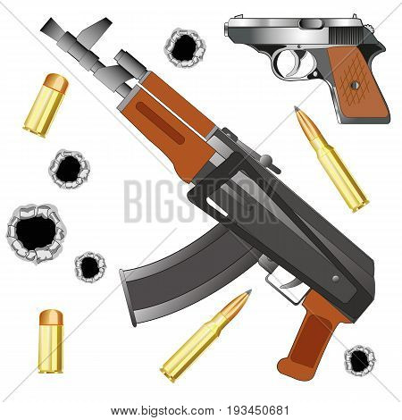 Automaton and gun with patron on white background