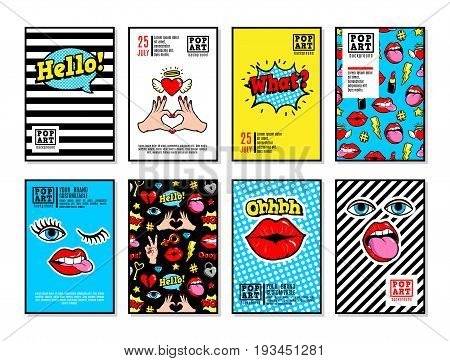 Set of vector cards and banners in cartoon 80s-90s comic style with fashion patches, pins and stickers. Can be used in cover design, book design, CD cover, advertising, posters and greeting cards.