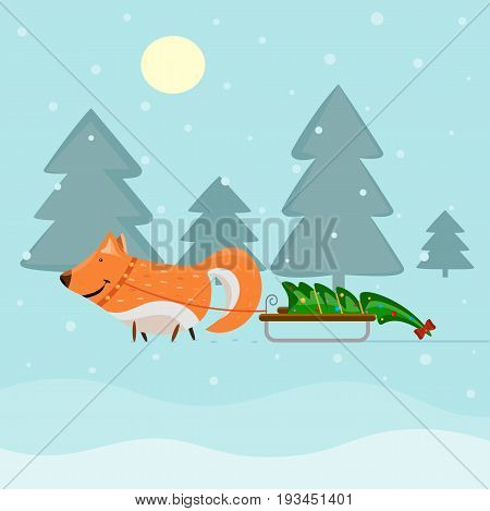 Vector illustration of a cute fox in the forest is carrying a sled with a decorated Christmas tree. Beautiful Christmas and New Year greeting card