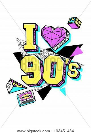 Memphis poster, card or invitation with triangle heart, geometric elements and tape cassette. I love 90s. Vector illustration in trendy 80s-90s memphis style.