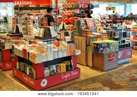 Customers Shop For Books In Changi Airport, Singapore