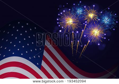 United States flag and celebration golden blue fireworks background. Independence Day 4th of July holidays salute greeting card.