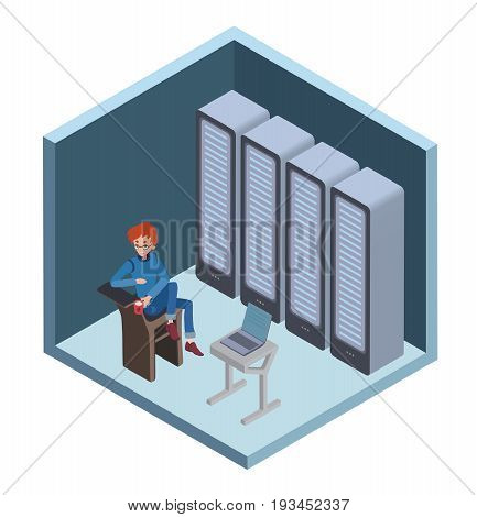 Data center icon, system administrator. Man sitting at the computer in server room. Vector illustration in isometric projection, isolated on white background.