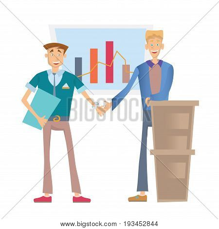 Two happy business people shaking hands, standing at a flip chart with a financial graph. Vector illustration, isolated on white background.