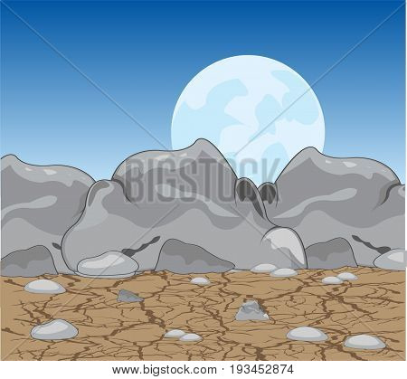 Stone desert at moon in the night