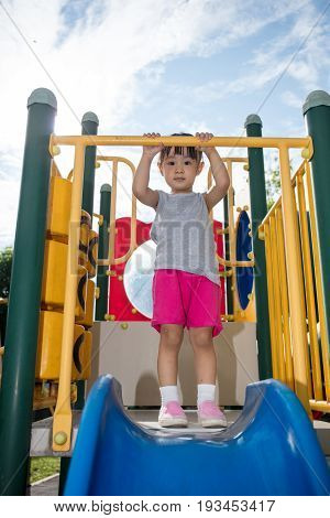 Asian Chinese Little Girl Doing Exercises