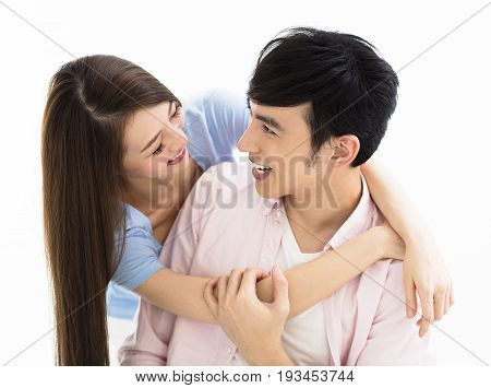 Portrait of smiling asian young loving couple