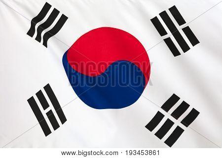 Korean flag. Korean flag flying in the wind.