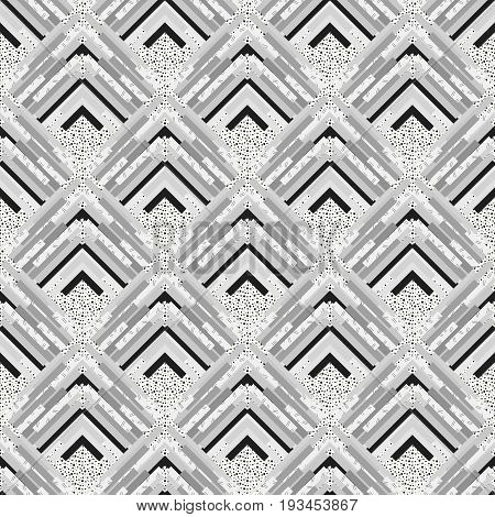 Seamless graphic. Retro print. Memphis wallpaper. Avant-garde illustration. Vintage ornament. Bauhaus art. Black and white design. Hipster pattern. Monochrome background. Geometry backdrop. Vector.