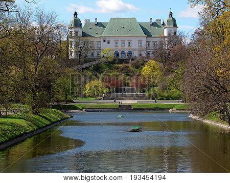 Ujazdowski Castle. Warsaw, Poland - April 08, 2017 Baroque classicist Ujazdowski Castle near Agrykola Park in Warsaw.