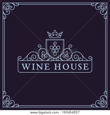 Flourishes luxury elegant frame ornament template with bunch of grape and crown in trendy linear style. For menu, bar, restaurant, wine list, wine house, wine label, vineyard, winery. Vector illustration.