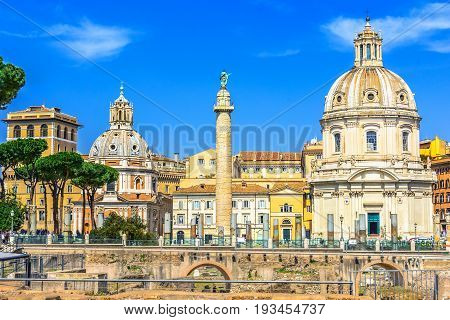 Imperial Forum, Traian Column and Santa Maria di Loreto Church in Rome, Italy