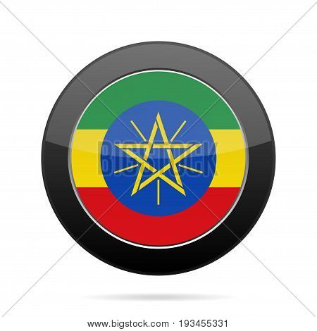 National flag of Ethiopia. Shiny black round button with shadow.