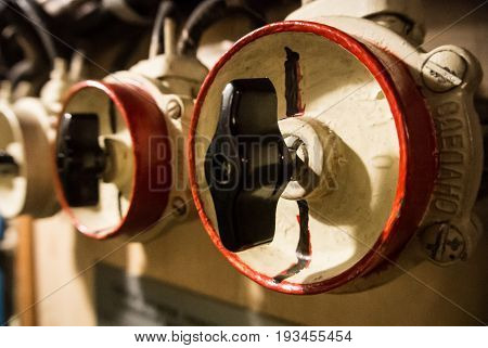 Kaliningrad, Russia - June 12 2017: Close-up View Of Valves, A Machinery Engineering Interior Space