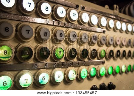 Kaliningrad, Russia - June 12 2017: The Rows Of White And Green Buttons, Lighted Or Not, With Number