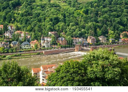 Plenty Of Residential Houses At The Hillside At The Embankment Of Neckar River At The Center Of Heid
