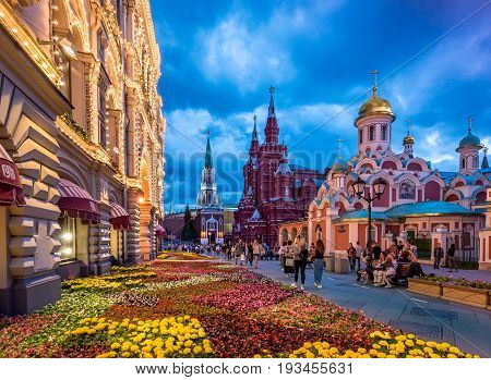 MOSCOW, RUSSIA - JULY 1, 2017: Flower Festival near GUM in the center of Moscow. GUM - one of the oldest supermarkets in Moscow.