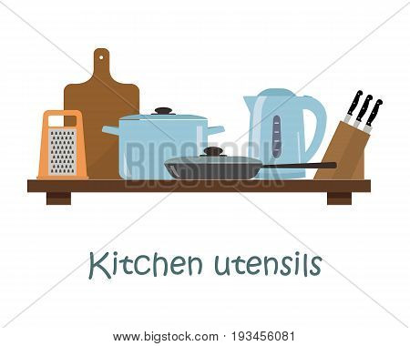 Kitchen utensils in a blue color on a shelf. There is a pan, a frying pan, a kettle, a grater, a set of knives and other objects in the picture. Vector illustration.
