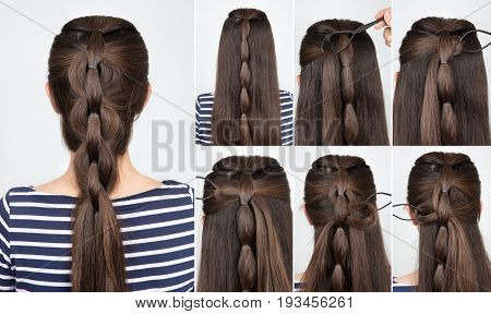 Hair tutorial. Hairstyle braid for party. Backstage technique of weaving plait step by step