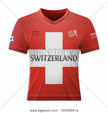 Soccer shirt in colors of swiss flag. National jersey for football team of Switzerland. Best vector illustration for soccer sport game football championship national team gameplay etc