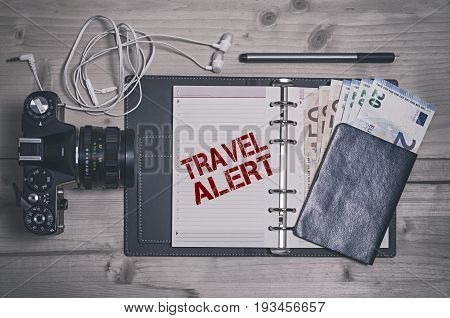 Travel alert stencil print. Travel safety concept.