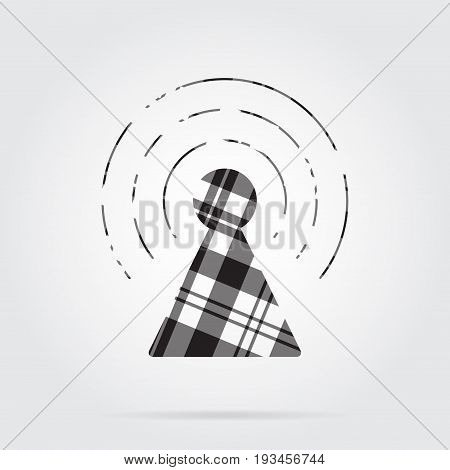 grayscale gray black isolated tartan icon with white stripes - transmitter tower and shadow in front of a gray background