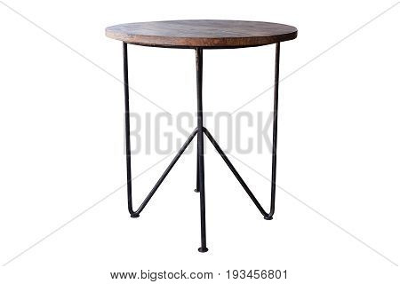 Wooden table steel legs simplistic isolated on white background work with path.