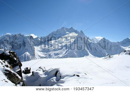 Mountain top in the mountains of Dombai Caucasus