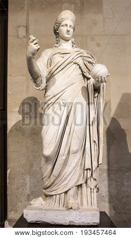 ParisFrance- May 032017: Statue of Junocalled Providence.Collections royales francaises.Louvre