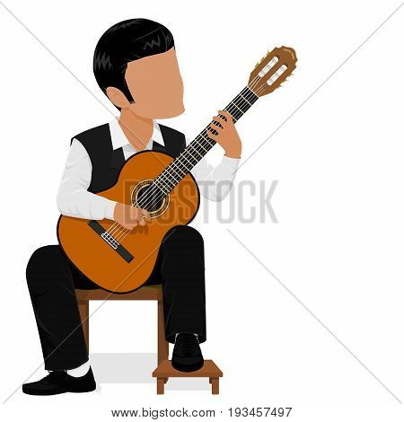 Basic posture of classical guitarist, He's playing classical guitar