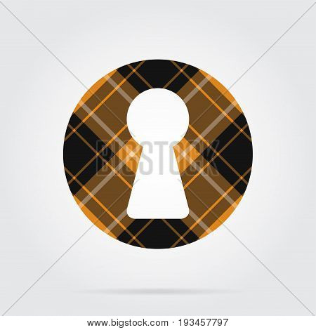 orange black isolated tartan icon with white stripes - keyhole and shadow in front of a gray background