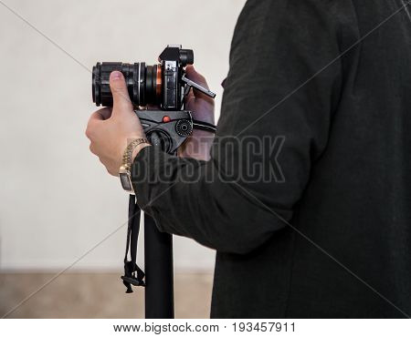 Man shoots at the camera concept video