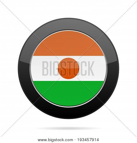 National flag of Niger. Shiny black round button with shadow.