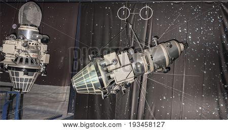 Le Bourget Paris France- May 042017: Interior of the Museum of Astronautics and Aviation Le Bourget rockets and satellites