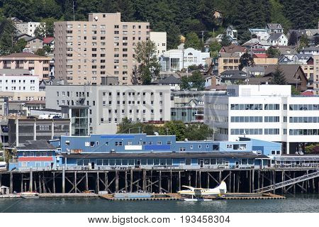 The downtown buildings of Juneau the capital of Alaska.